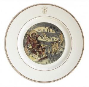 Piatto raffigurante La Bilancia di San Michele.
