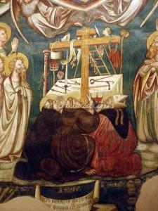 De heiligen Dominicus, Franciscus en Augustinus aan de voet van de lijdenswerktuigen