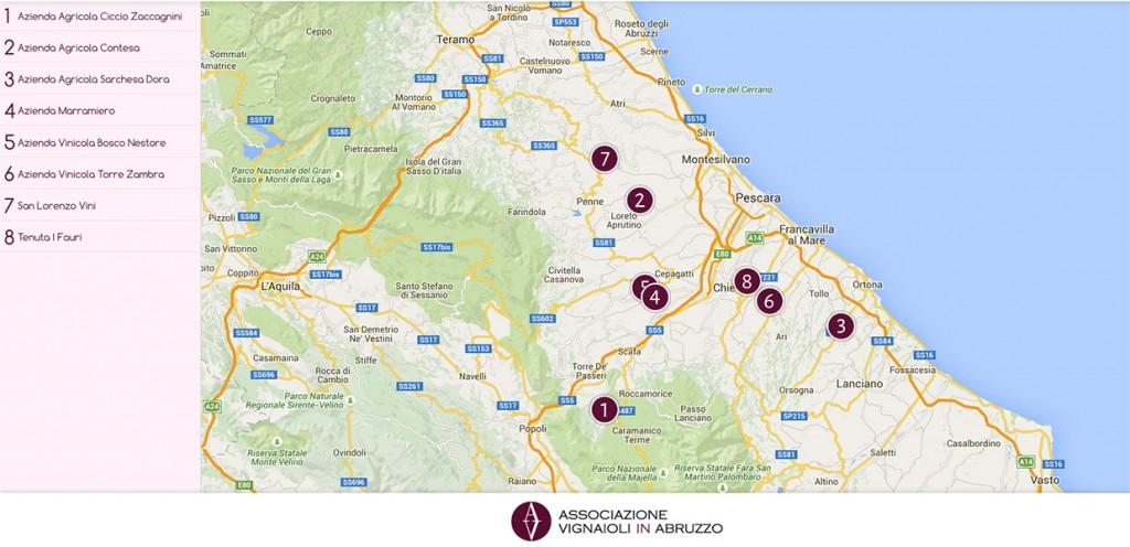 Vignaioli in Abruzzo - Mappa delle Cantine