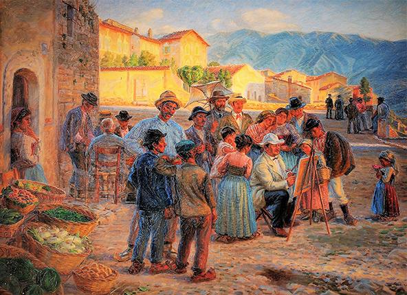 Dipinto di J. Wilhjelm che riprende K. Zahrtmann mentre dipinge a Civita