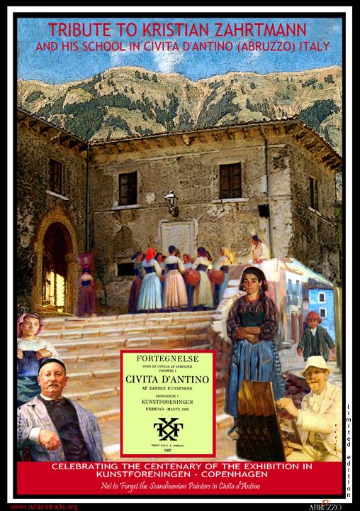 il poster che ricorda la mostra del 1908 a Copenaghen dedicata a Civita d'Antino
